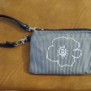 Black and White striped floral wristlet